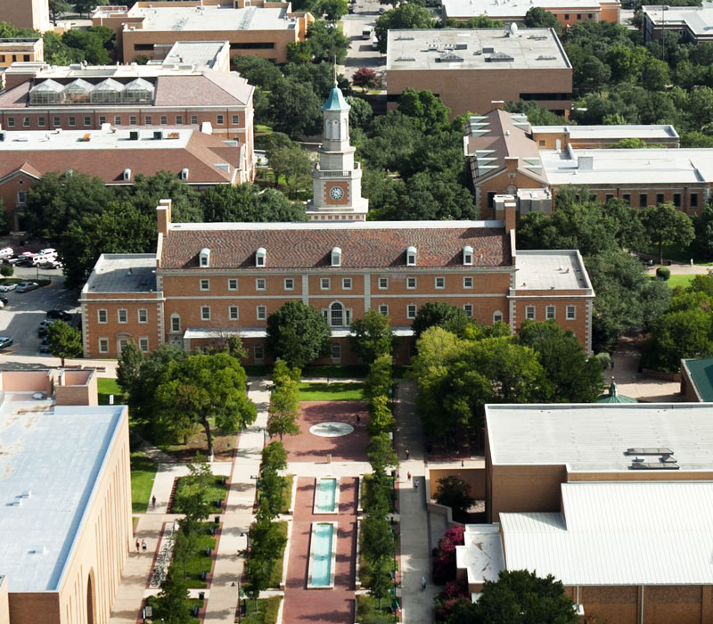 UNT Denton campus aerial photo